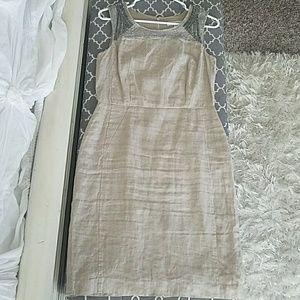 Ann Taylor LOFT beaded embellished linen dress